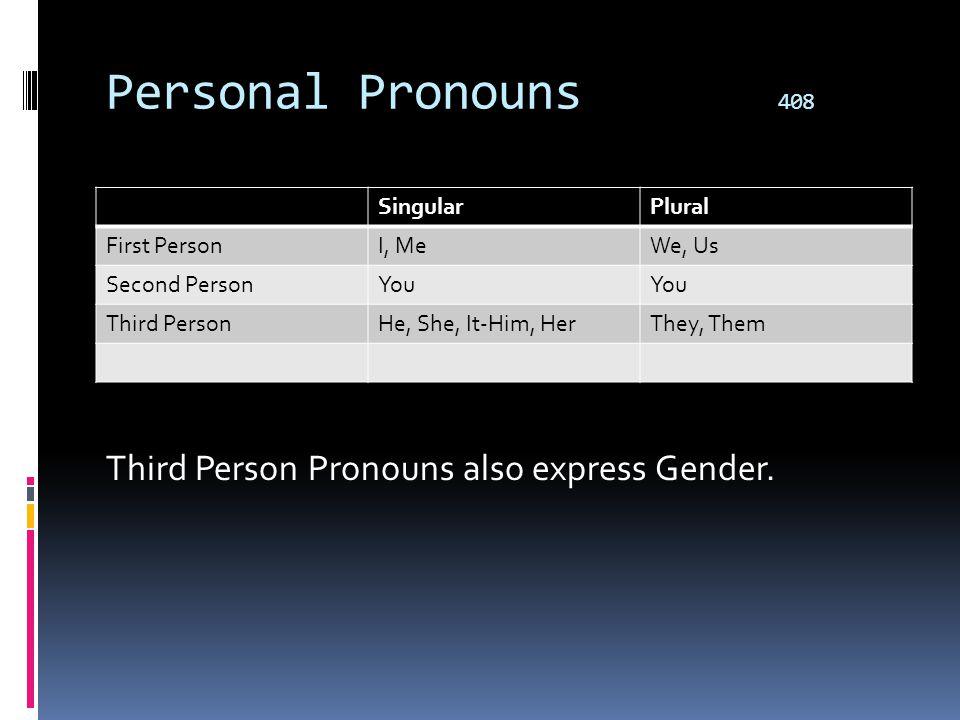 Personal Pronouns 408 Third Person Pronouns also express Gender.