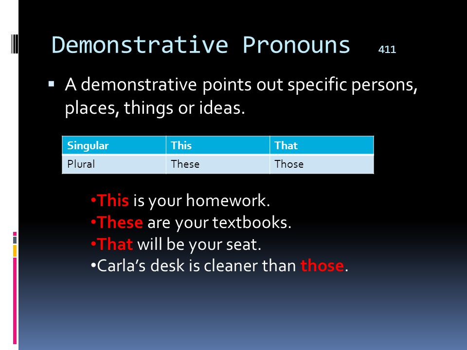 Demonstrative Pronouns 411