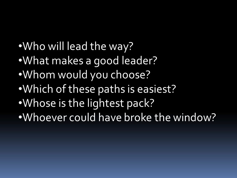 Who will lead the way What makes a good leader Whom would you choose Which of these paths is easiest