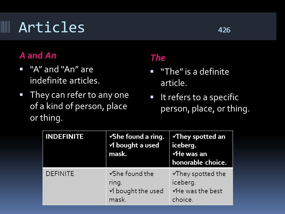 Articles 426 A and An The A and An are indefinite articles.
