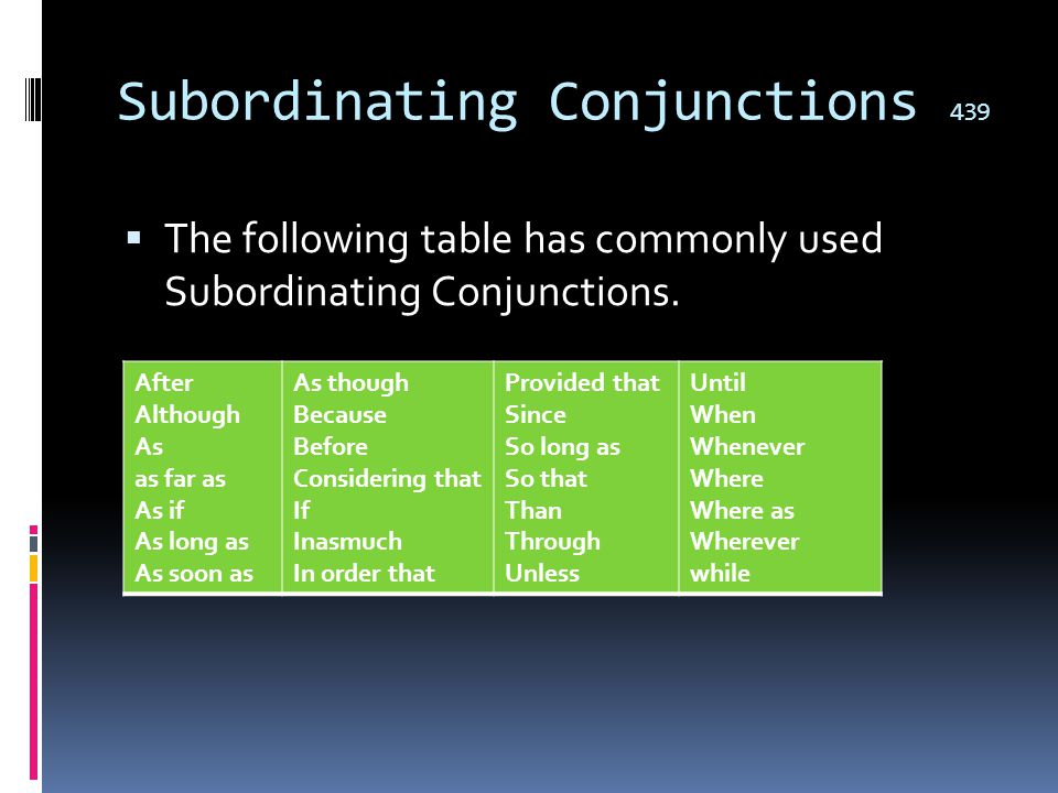 Subordinating Conjunctions 439