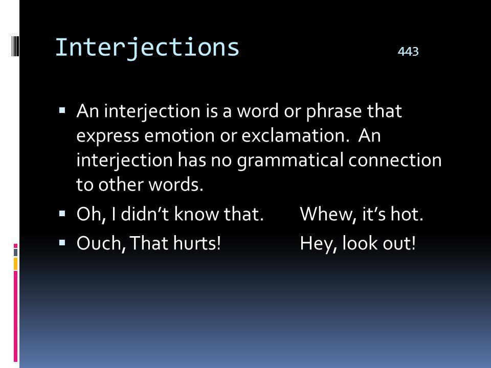Interjections 443