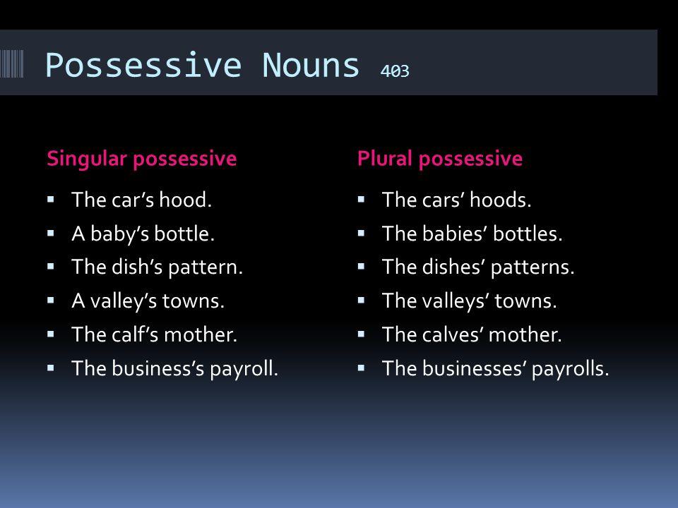 Possessive Nouns 403 Singular possessive Plural possessive
