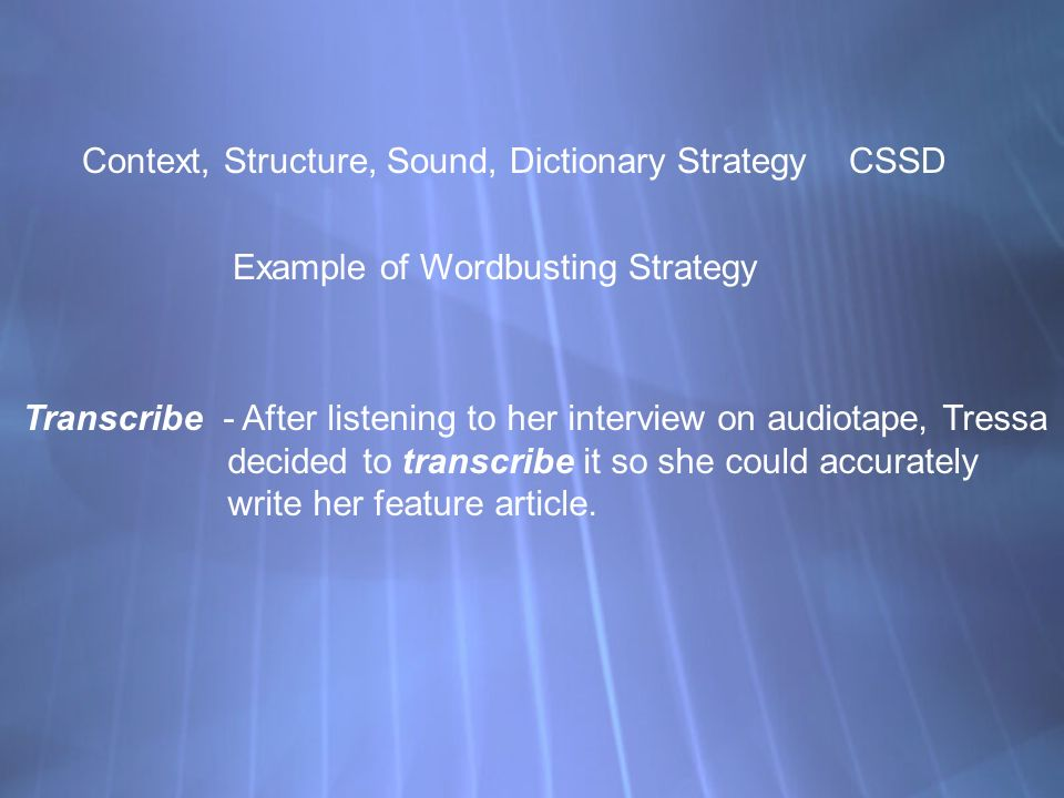 Context, Structure, Sound, Dictionary Strategy CSSD