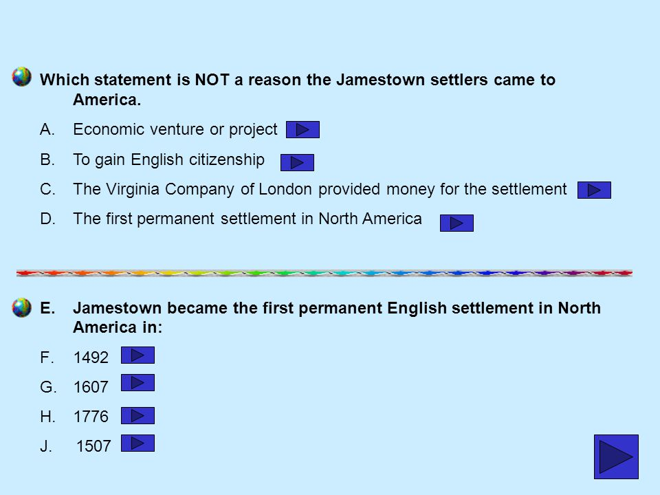 Which statement is NOT a reason the Jamestown settlers came to America.