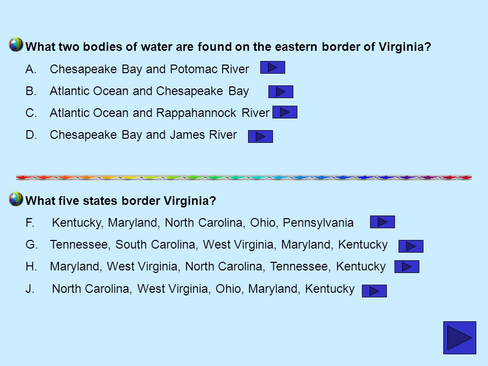 What two bodies of water are found on the eastern border of Virginia
