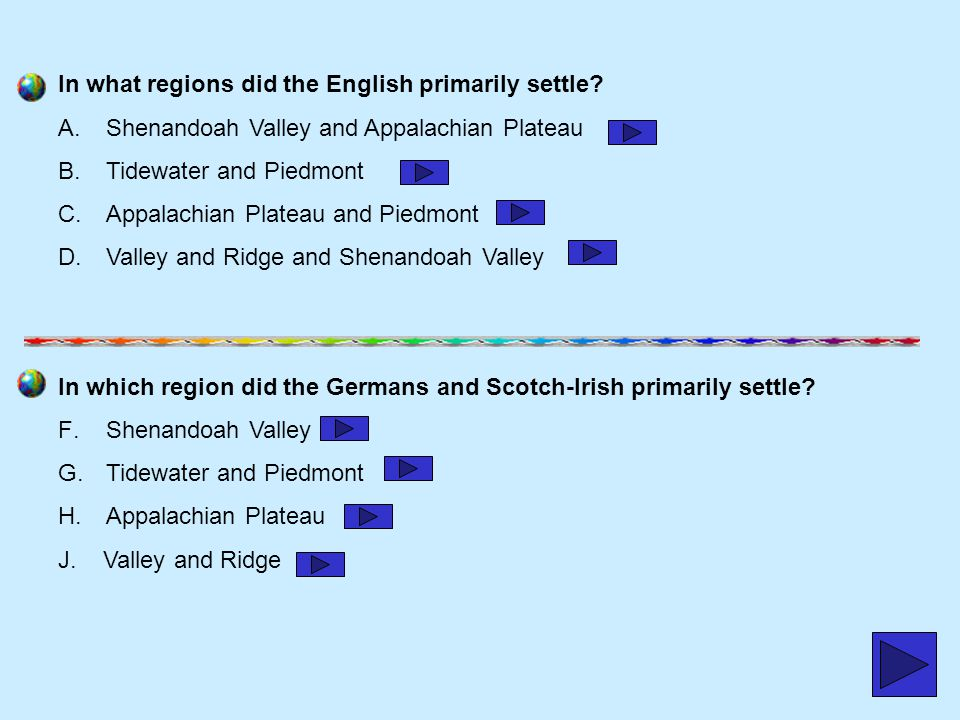 In what regions did the English primarily settle