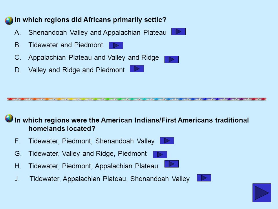 In which regions did Africans primarily settle