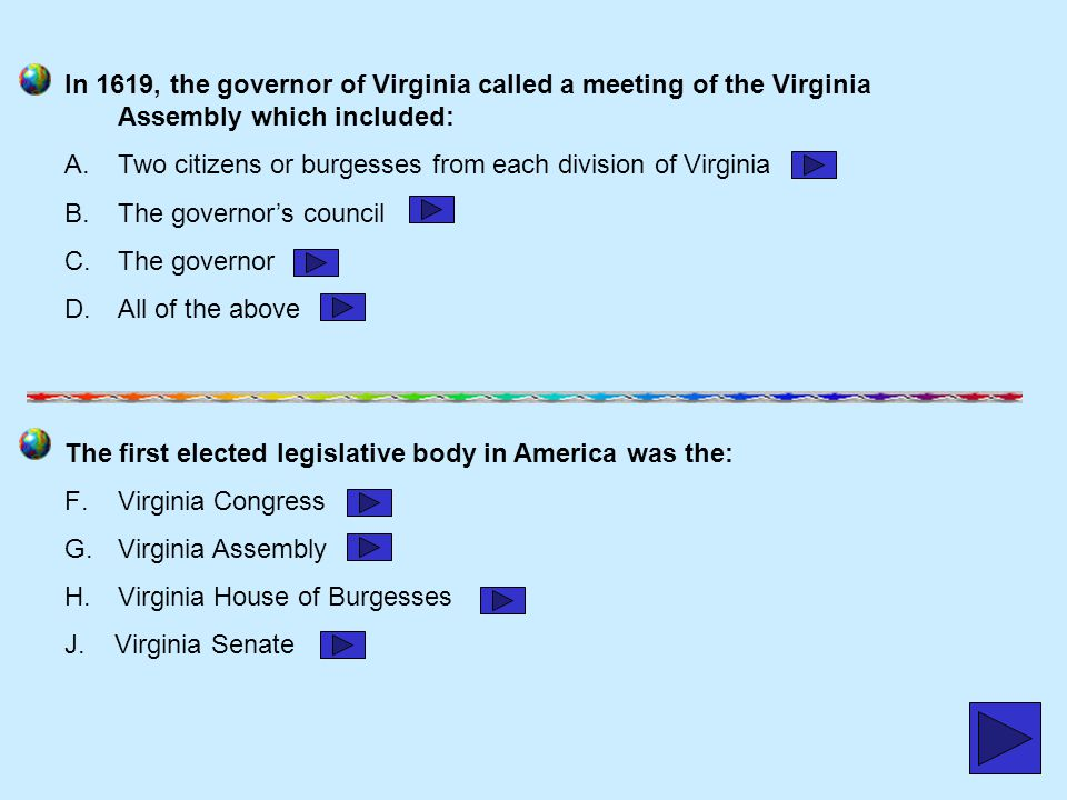 In 1619, the governor of Virginia called a meeting of the Virginia Assembly which included:
