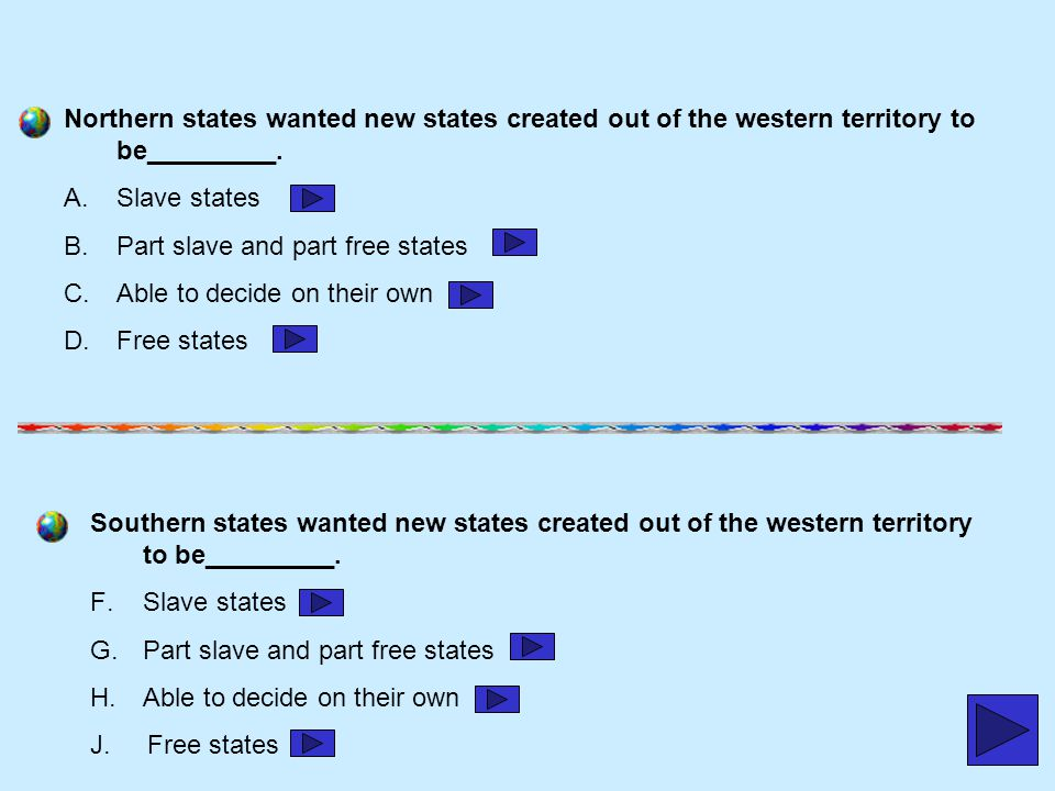 Northern states wanted new states created out of the western territory to be_________.