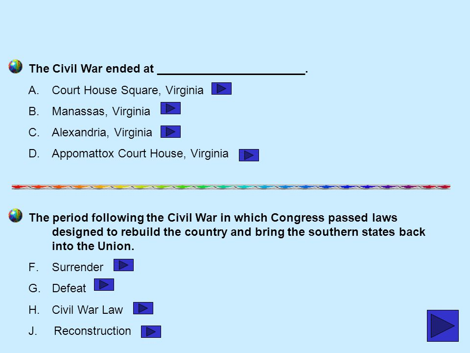 The Civil War ended at _______________________.