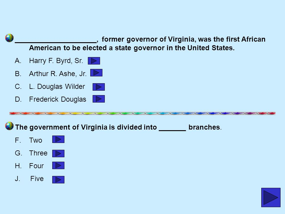 _____________________, former governor of Virginia, was the first African American to be elected a state governor in the United States.