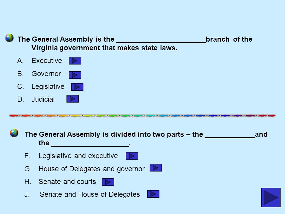 The General Assembly is the _______________________branch of the Virginia government that makes state laws.