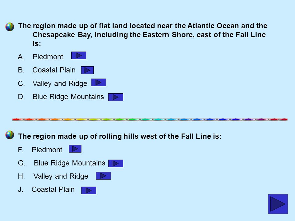 The region made up of flat land located near the Atlantic Ocean and the Chesapeake Bay, including the Eastern Shore, east of the Fall Line is: