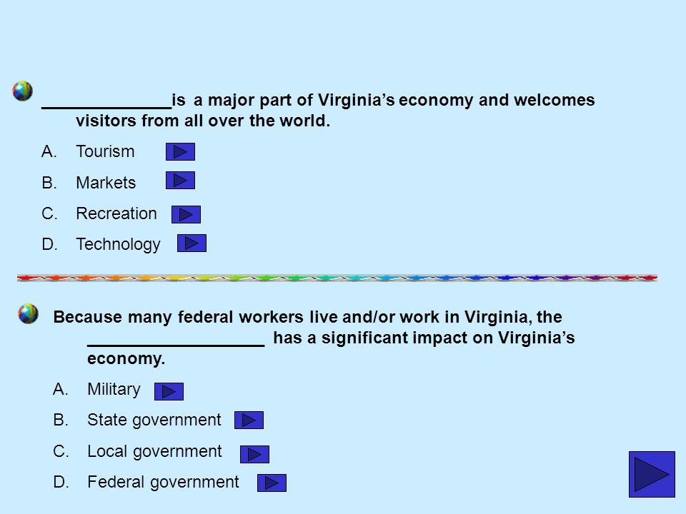 ______________is a major part of Virginia's economy and welcomes visitors from all over the world.