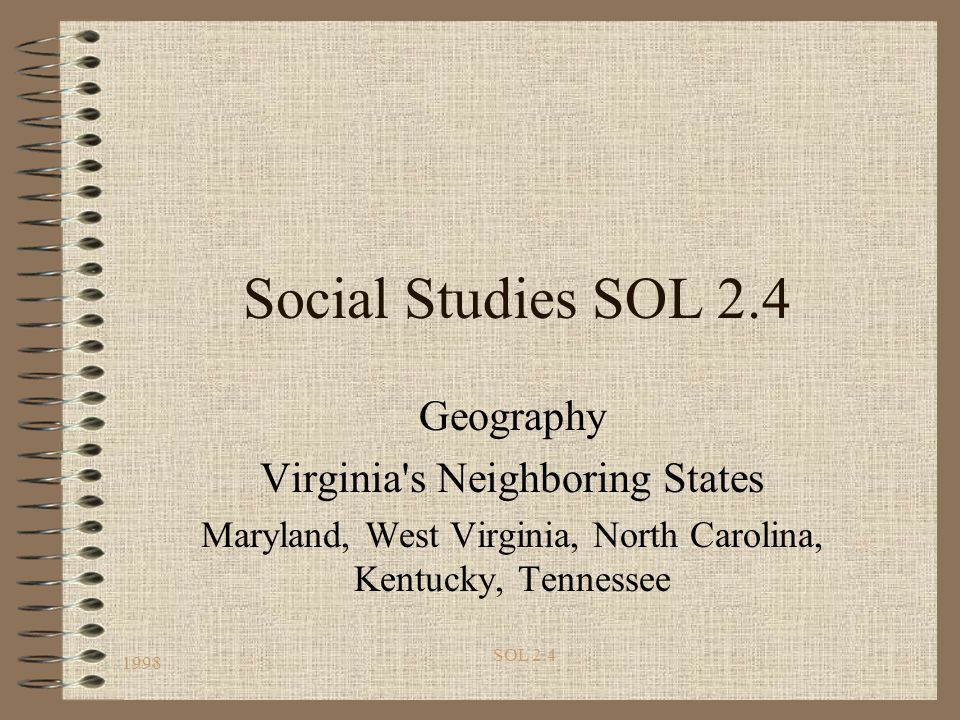 Social Studies SOL 2.4 Geography Virginia s Neighboring States