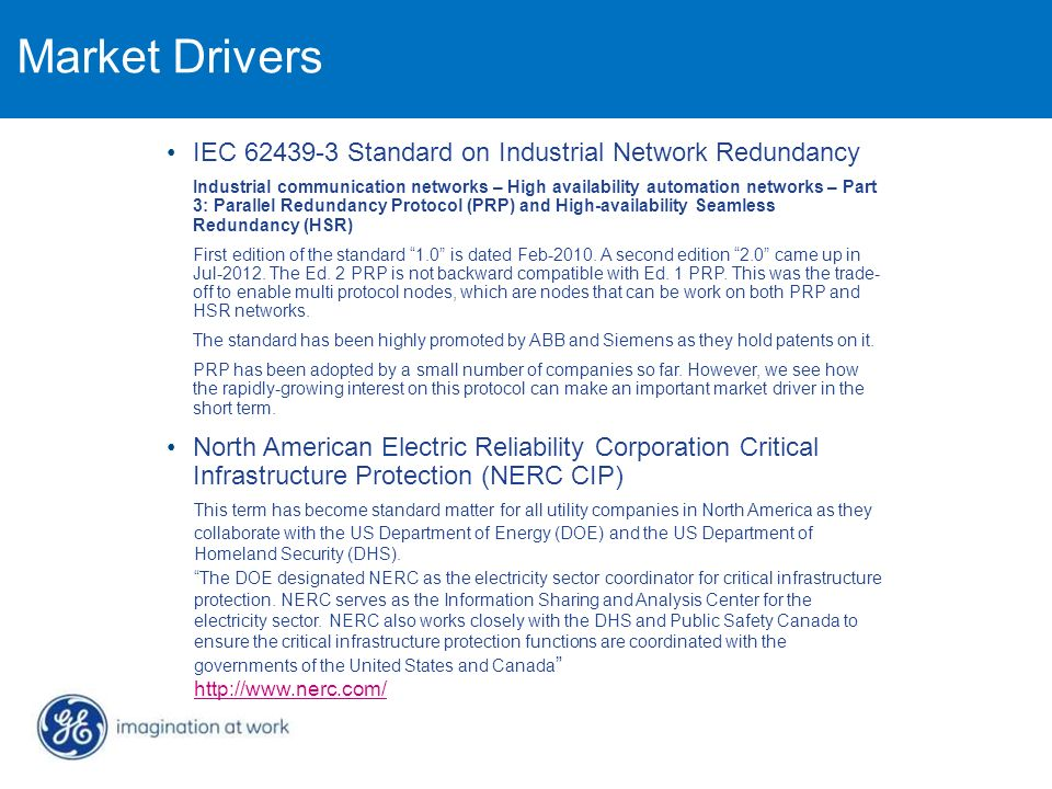 Market Drivers IEC 62439-3 Standard on Industrial Network Redundancy
