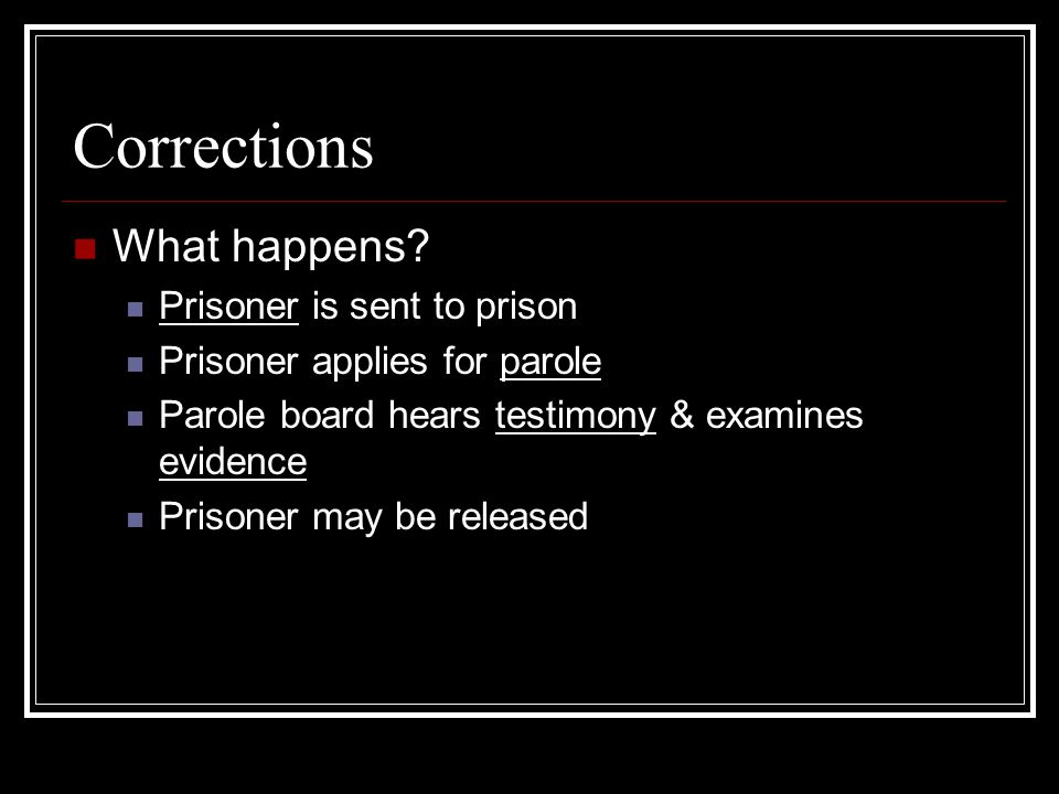 Corrections What happens Prisoner is sent to prison