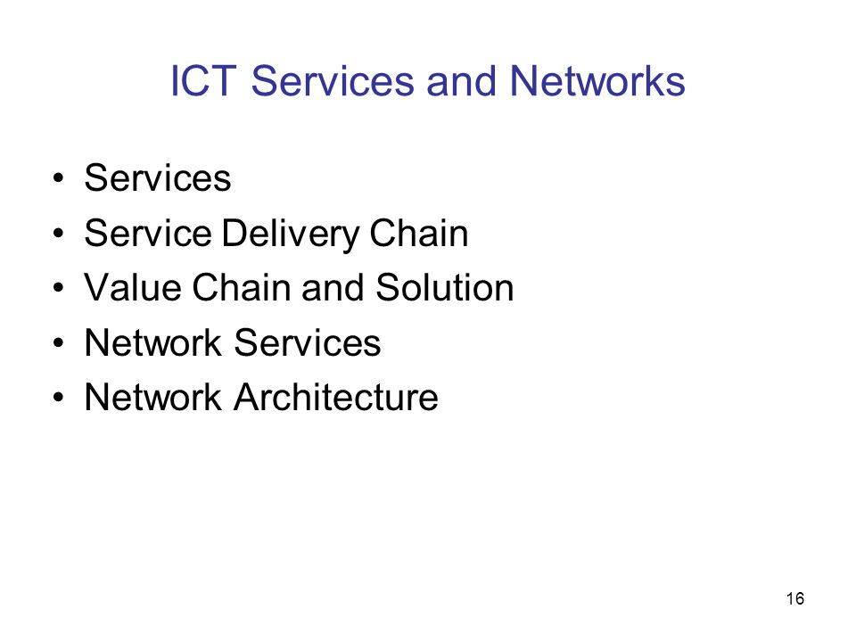 ICT Services and Networks