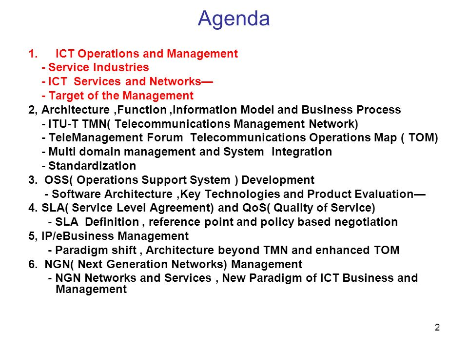 Agenda ICT Operations and Management - Service Industries