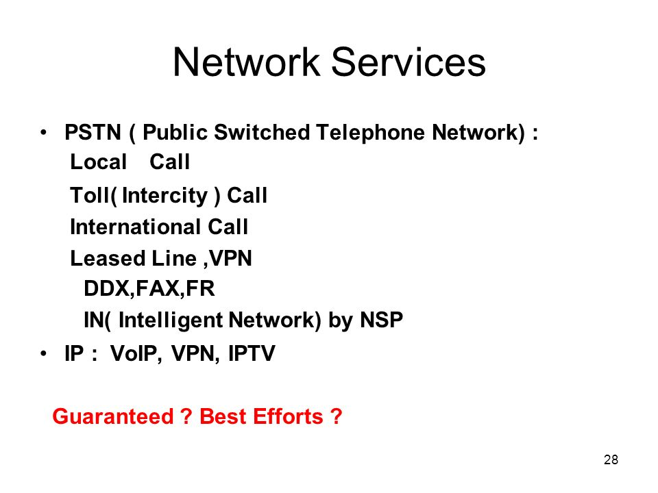 Network Services PSTN ( Public Switched Telephone Network) :