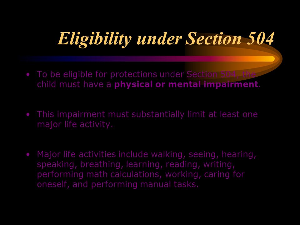 Eligibility under Section 504