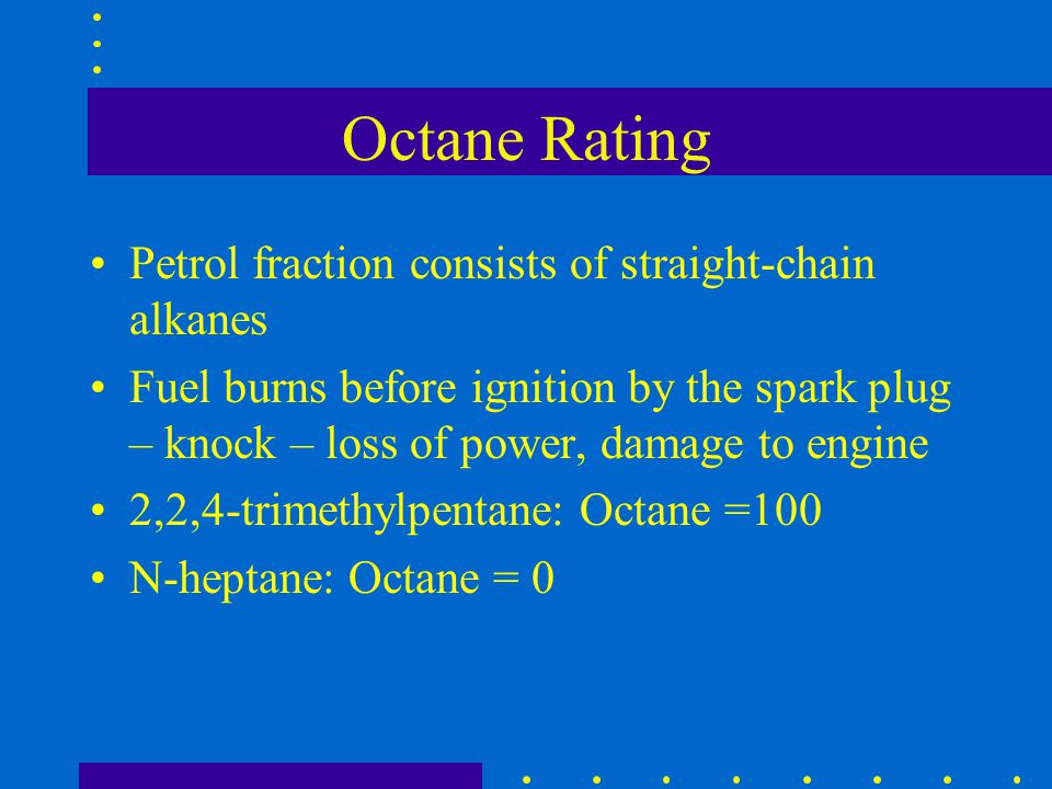 Octane Rating Petrol fraction consists of straight-chain alkanes
