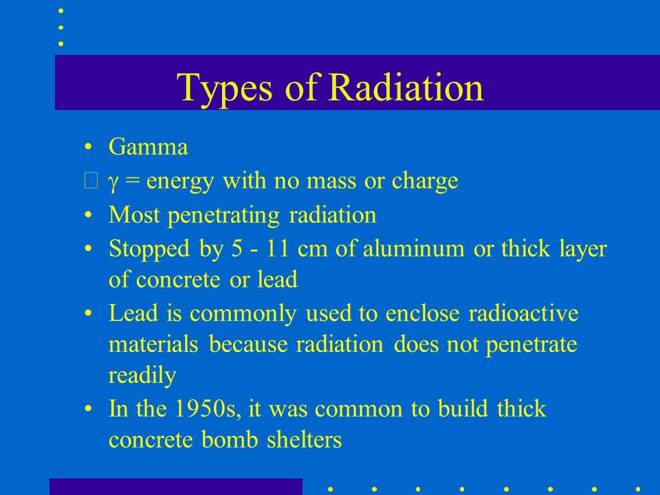 Types of Radiation Gamma g = energy with no mass or charge