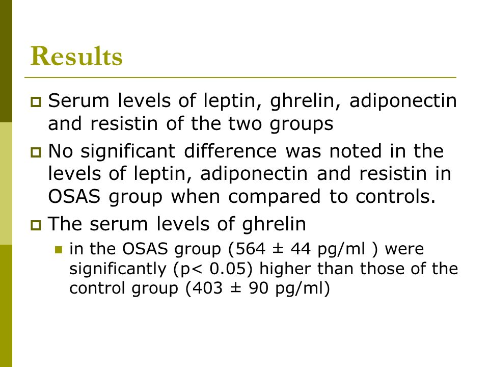 ResultsSerum levels of leptin, ghrelin, adiponectin and resistin of the two groups.