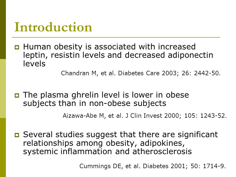 Introduction Human obesity is associated with increased leptin, resistin levels and decreased adiponectin levels.