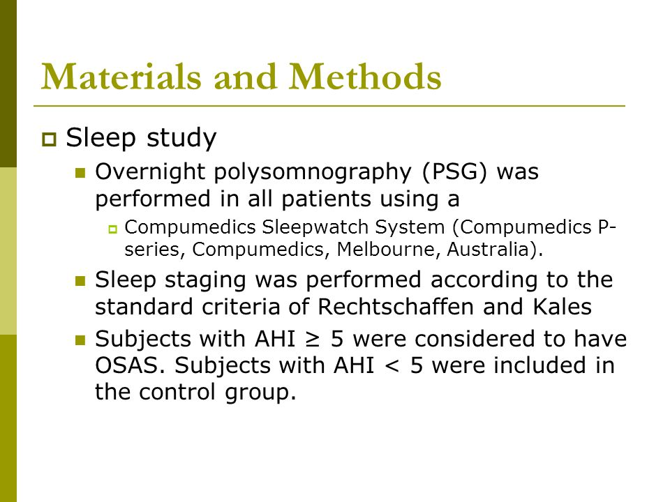 Materials and Methods Sleep study