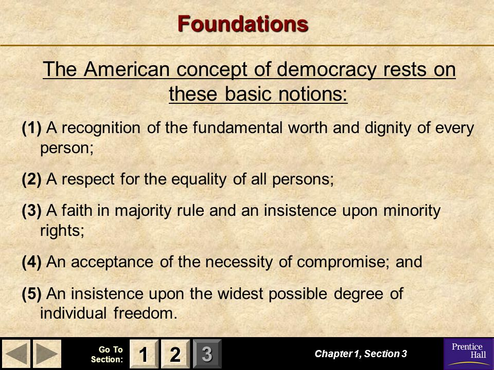 The American concept of democracy rests on these basic notions: