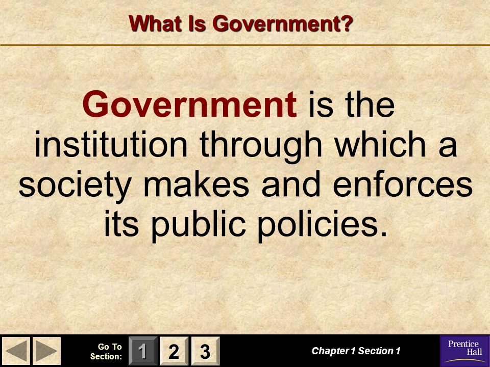 What Is Government Government is the institution through which a society makes and enforces its public policies.