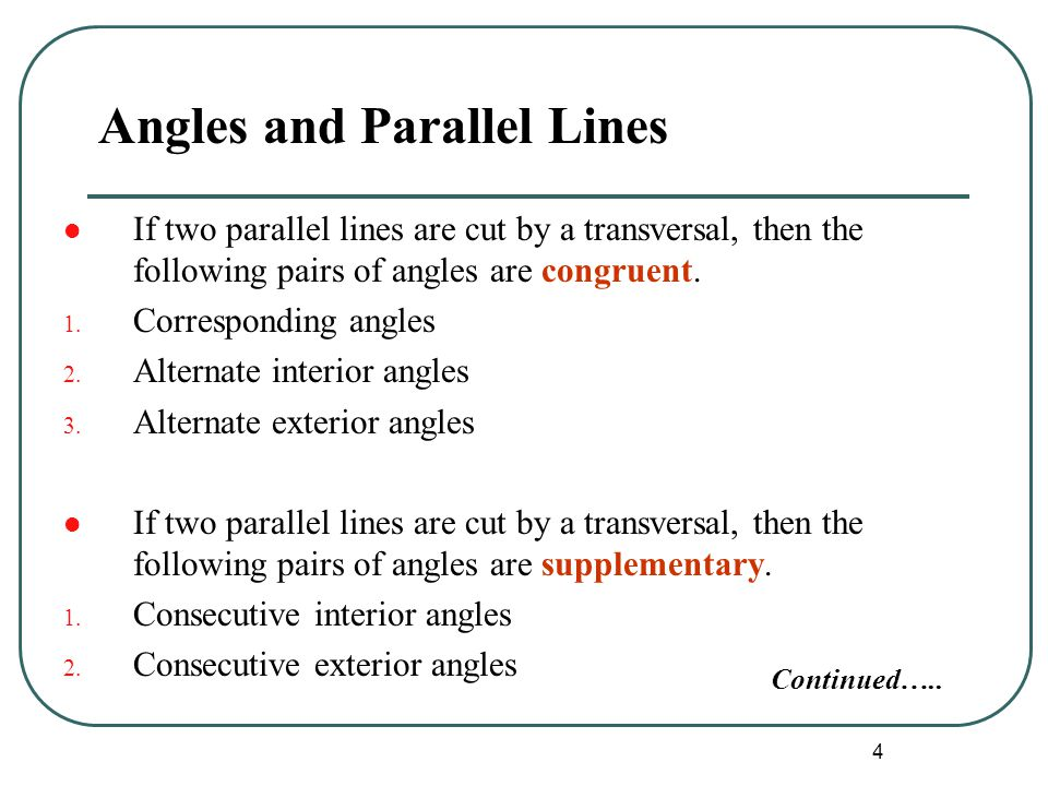 Angles and Parallel Lines