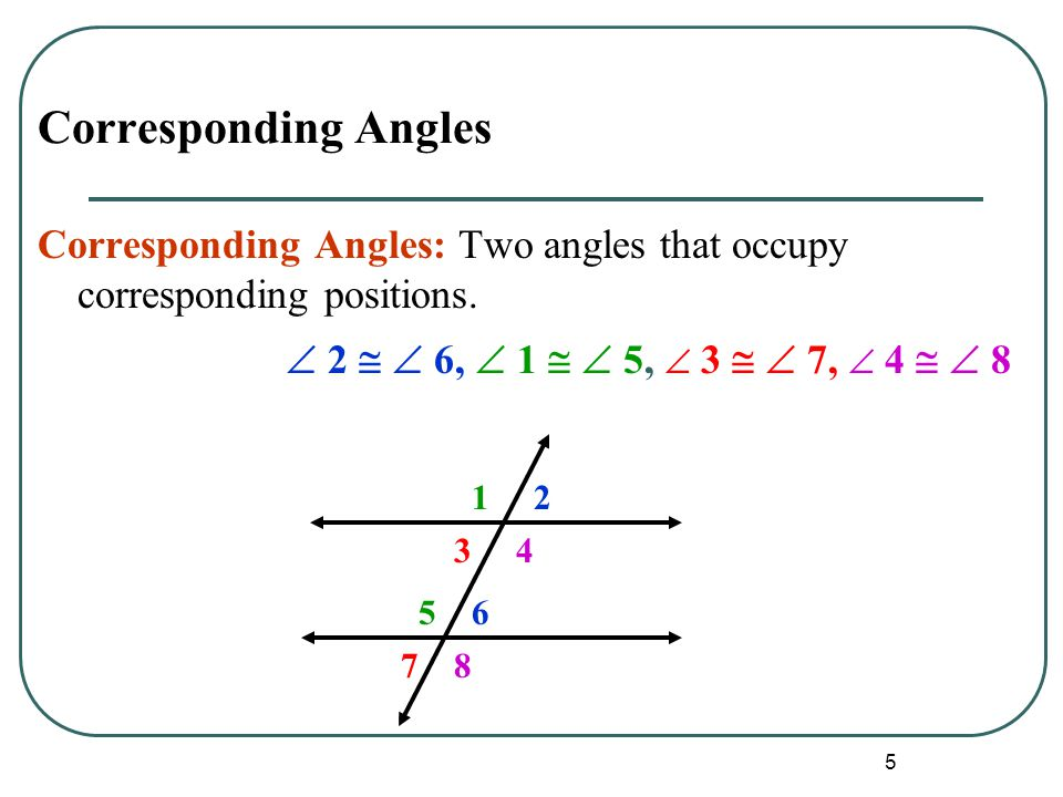 Corresponding Angles Corresponding Angles: Two angles that occupy corresponding positions.  2   6,  1   5,  3   7,  4   8.