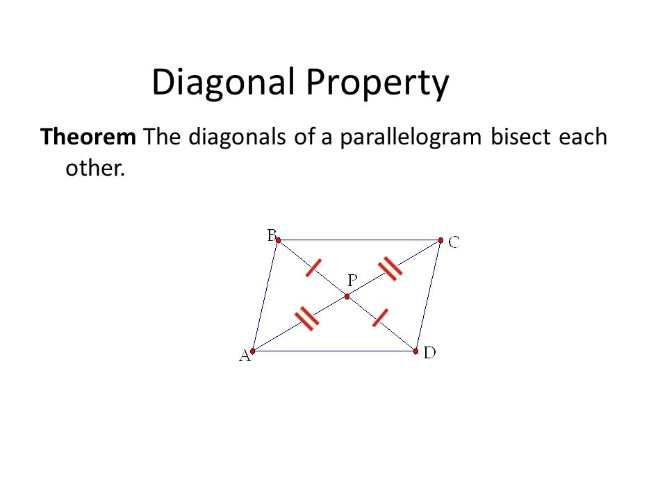 Diagonal Property Theorem The diagonals of a parallelogram bisect each other.