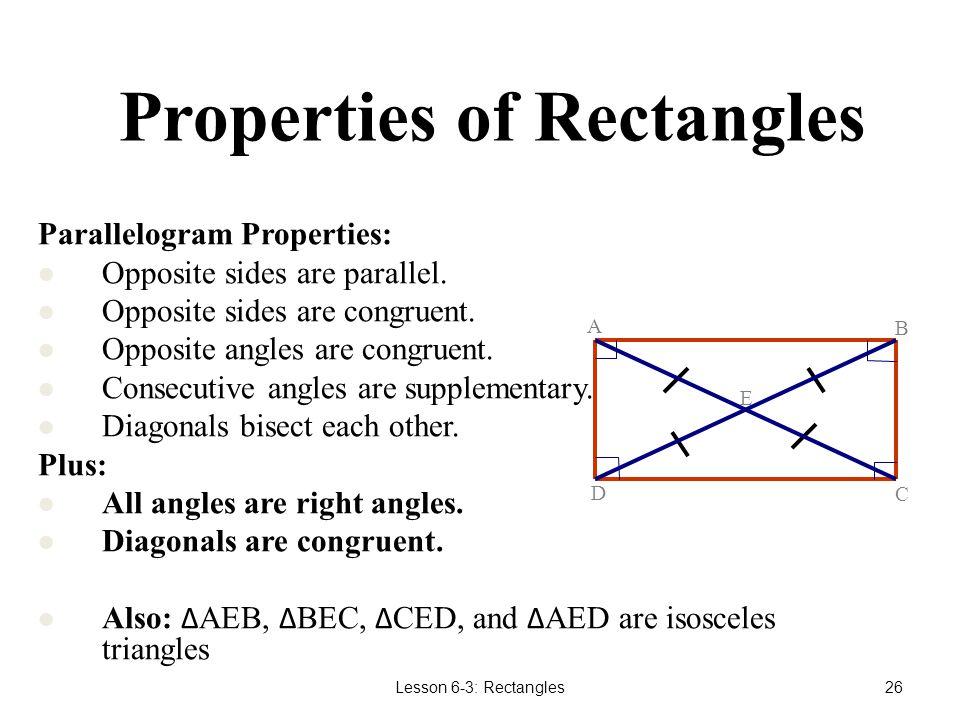 Properties of Rectangles