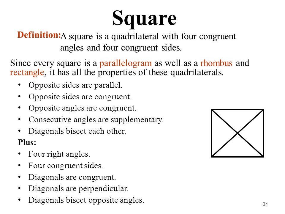 Square Definition: A square is a quadrilateral with four congruent angles and four congruent sides.