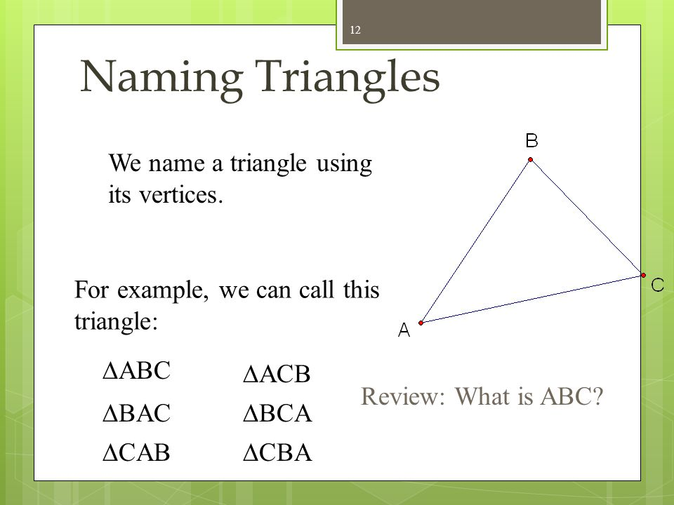 Naming Triangles We name a triangle using its vertices.