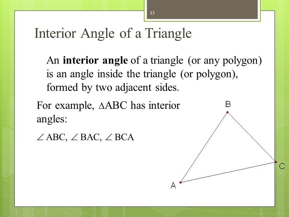 Interior Angle of a Triangle
