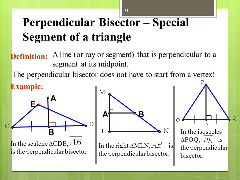 Perpendicular Bisector – Special Segment of a triangle