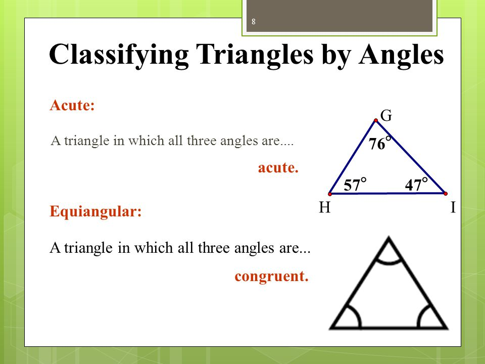 Classifying Triangles by Angles