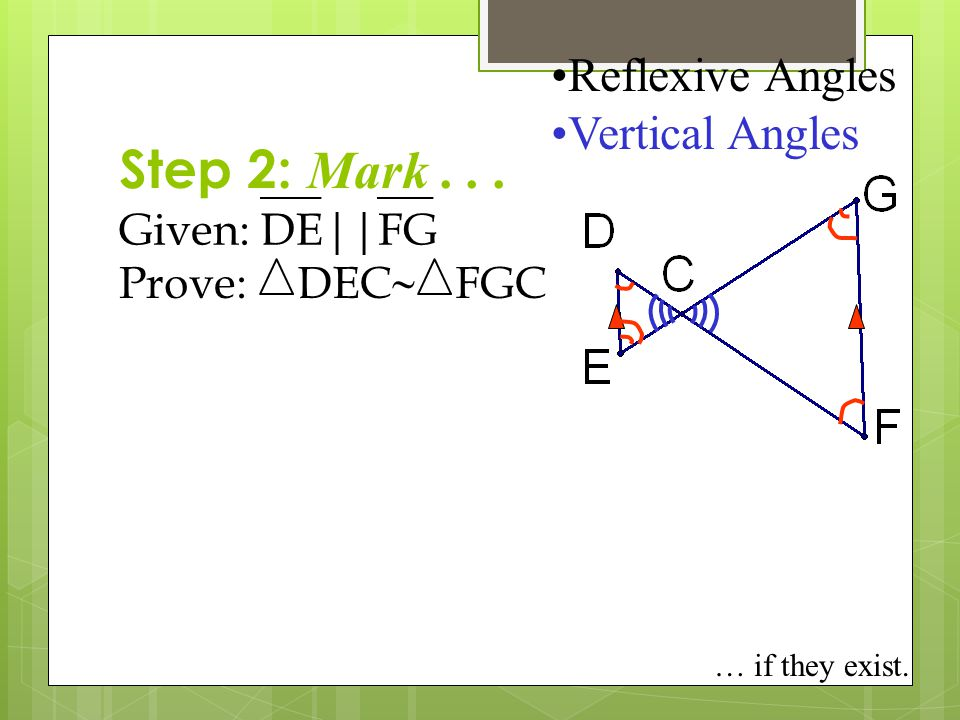 Step 2: Mark . . . Reflexive Angles Vertical Angles Given: DE || FG