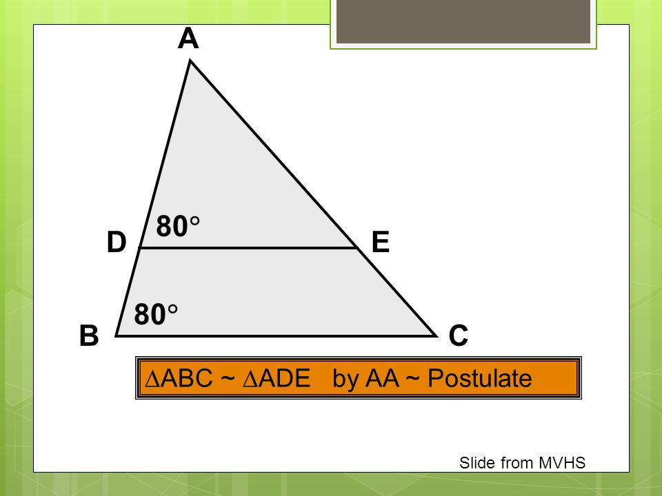 A 80 D E 80 B C ABC ~ ADE by AA ~ Postulate Slide from MVHS