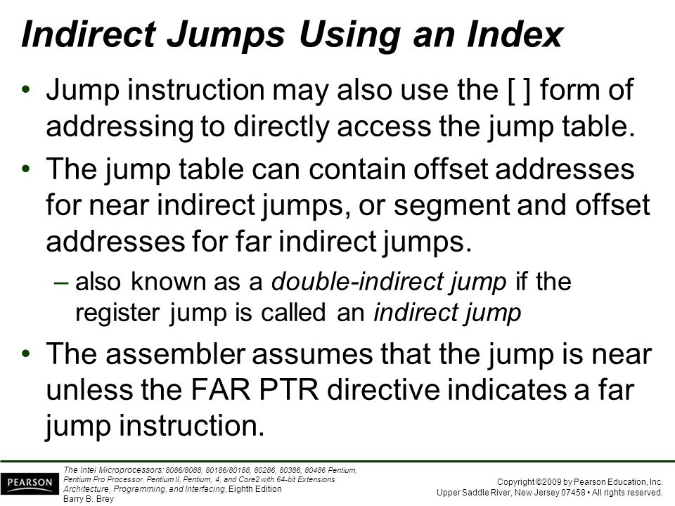 Indirect Jumps Using an Index