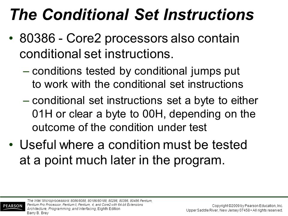 The Conditional Set Instructions
