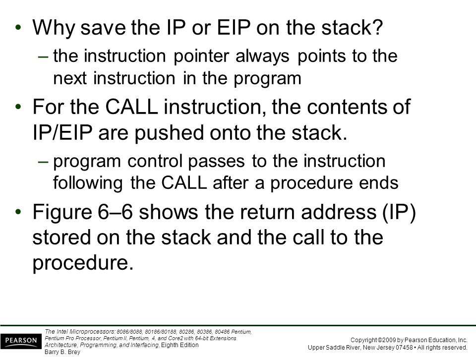 Why save the IP or EIP on the stack