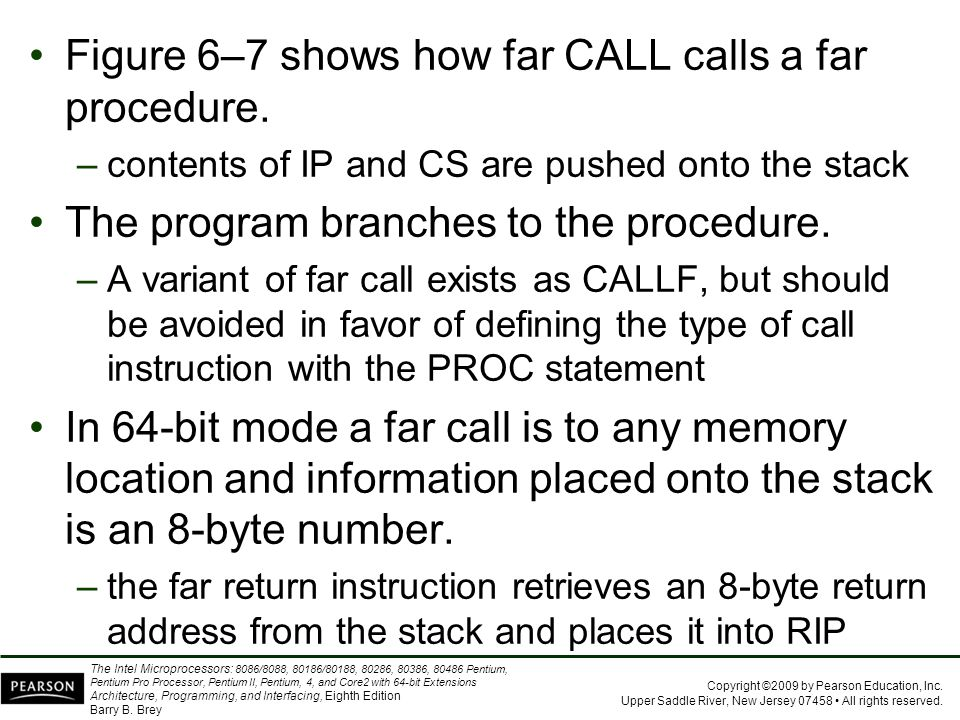 Figure 6–7 shows how far CALL calls a far procedure.