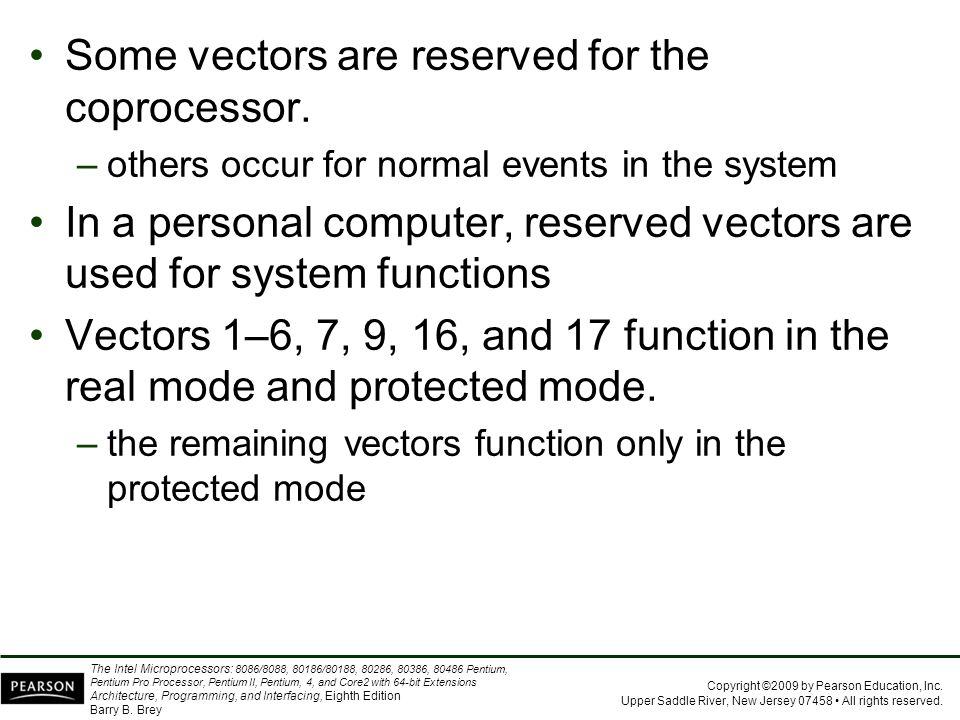 Some vectors are reserved for the coprocessor.