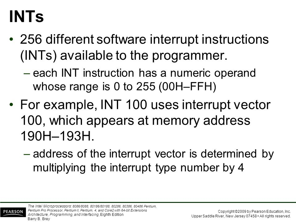 INTs 256 different software interrupt instructions (INTs) available to the programmer.